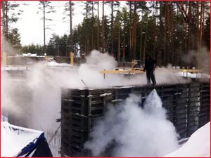 Остывание бетона в зимний период после заливки фундамента для загородного дома
